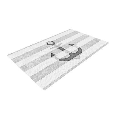 Monika Strigel Stone Vintage Anchor White/Gray Area Rug Rug Size: 4 x 6