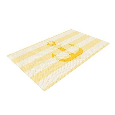 Monika Strigel Stone Vintage Anchor White/Yellow Area Rug Rug Size: 4 x 6