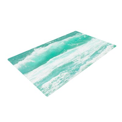 Monika Strigel Maui Waves Teal/Green Area Rug Rug Size: 4 x 6