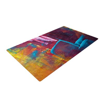 Malia Shields Cityscape Abstracts II Painting Yellow/Blue Area Rug Rug Size: 4 x 6
