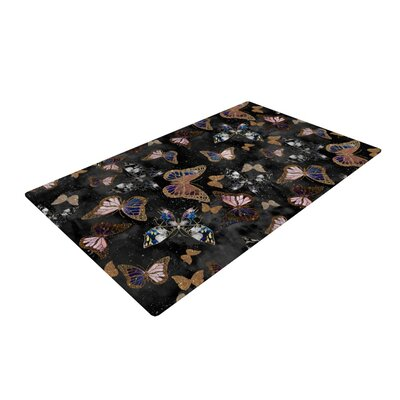 Nikki Strange Galactic Butterfly Black/Brown Area Rug Rug Size: 2 x 3