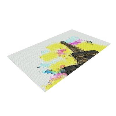 Oriana Cordero Eifel - Bon Jour Paris Yellow Area Rug Rug Size: 4 x 6