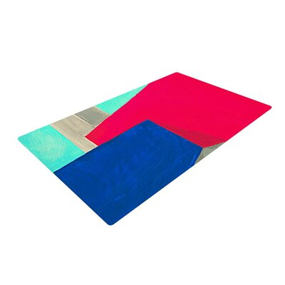 Oriana Cordero Corner Geometry Blue/Red Area Rug Rug Size: 2 x 3