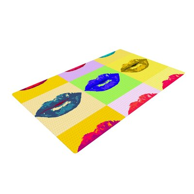 Oriana Cordero Pop Kiss Lips Rainbow Area Rug Rug Size: 2 x 3