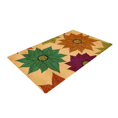 Pom Graphic Design Color Me Floral Cream/Green Area Rug