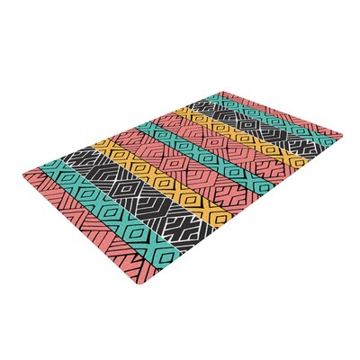 Pom Graphic Design Artisian Pink/Teal Area Rug Rug Size: 2 x 3