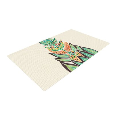 Pom Graphic Design Tribal Feather Green/Orange Area Rug Rug Size: 2 x 3