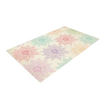 Pom Graphic Design Spring Florals Rainbow/Tan Area Rug Rug Size: 4 x 6