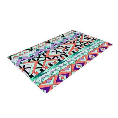 Pom Graphic Design Tribal Invasion Abstract Green/Orange Area Rug Rug Size: 4 x 6