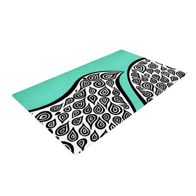 Pom Graphic Design Two Romantic Birds Abstract Teal Area Rug Rug Size: 2 x 3