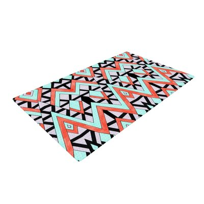 Pom Graphic Design Geometric Mountains Orange/Teal Area Rug Rug Size: 2 x 3