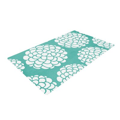 Pom Graphic Design Hydrangeas Blossoms Circles Teal Area Rug Rug Size: 2 x 3