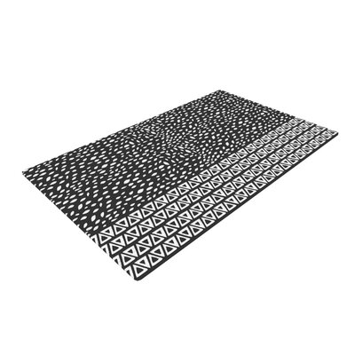 Pom Graphic Design Wind Night Black/White Area Rug Rug Size: 4 x 6