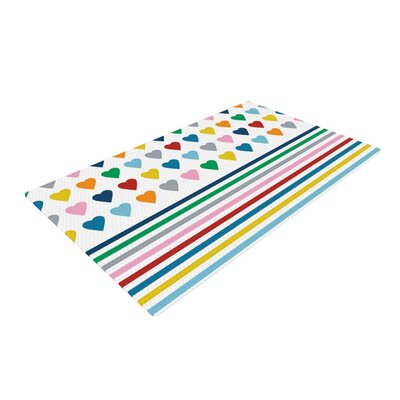 Project M Heart Stripes Shapes Rainbow Area Rug Rug Size: 4 x 6