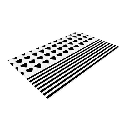 Project M Heart Stripes Monochrome Lines Black/White Area Rug Rug Size: 2 x 3
