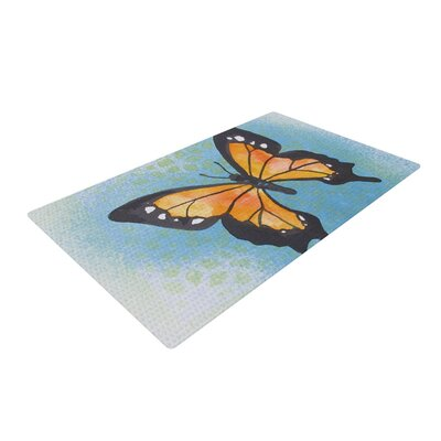 Padgett Mason Summer Flutter Blue/Orange Area Rug Rug Size: 4 x 6