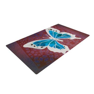 Padgett Mason Flutter Maroon/Aqua Area Rug Rug Size: 4 x 6