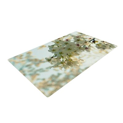 Robin Dickinson Cherry Blossoms Flower White Area Rug Rug Size: 2 x 3