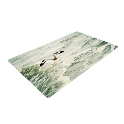 Robin Dickinson Dream Big Ocean Bird White/Green Area Rug Rug Size: 4 x 6