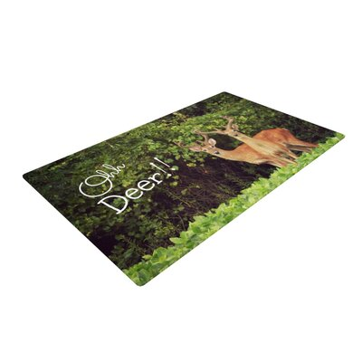 Robin Dickinson Ohh Deer Green/Brown Area Rug Rug Size: 2 x 3