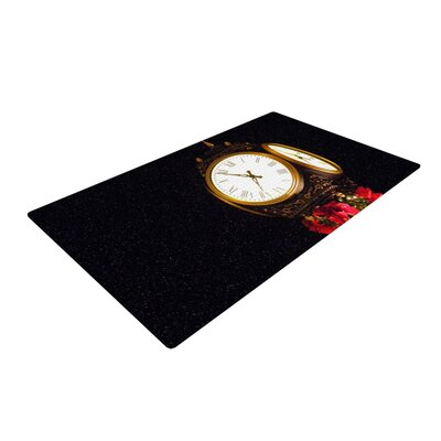 Robin Dickinson Xmas Clock Seasonal Black Area Rug Rug Size: 2' x 3'