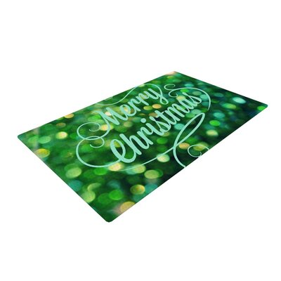 Robin Dickinson Merry Christmas Green Area Rug Rug Size: 2 x 3