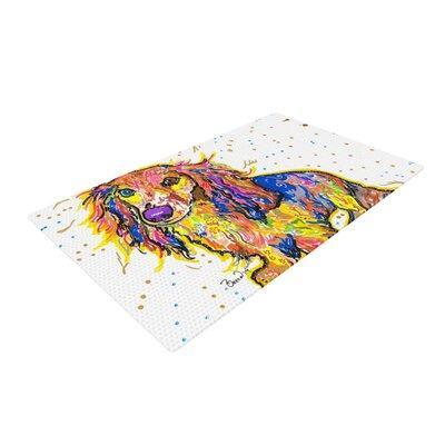 Rebecca Fischer Leela Daschund White/Yellow Area Rug Rug Size: 2 x 3
