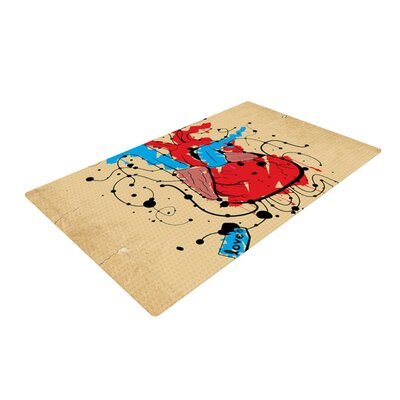 Roberlan Heart Red/Blue Area Rug Rug Size: 4 x 6