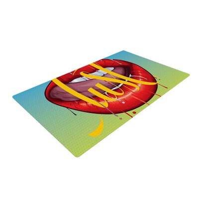 Roberlan Lust Kiss Lips Green/Red Area Rug Rug Size: 4 x 6