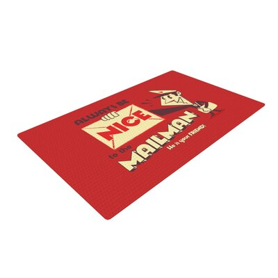 Roberlan Be Nice to the Mailman Red/Tan Area Rug Rug Size: 4 x 6