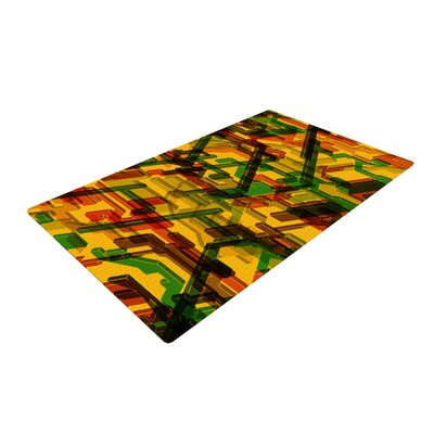 Roberlan Three Dee Yellow/Red Area Rug Rug Size: 4' x 6'