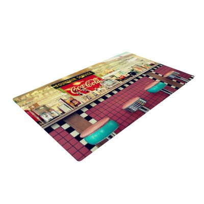 Sylvia Cook Retro Diner Coca Cola Red/Yellow Area Rug Rug Size: 4 x 6