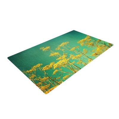 Sylvia Cook Flowers Sky Yellow/Teal Area Rug Rug Size: 2 x 3