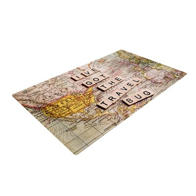 Sylvia Cook Travel Bug Map Ivory Area Rug Rug Size: 2 x 3