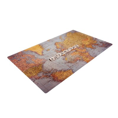 Sylvia Cook Adventure Map World Yellow/Gray Area Rug Rug Size: 4 x 6