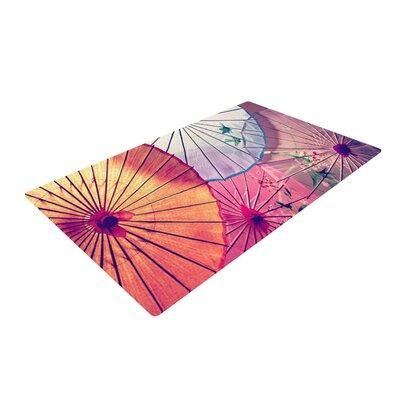Sylvia Cook Colorful Umbrellas Pink/Purple Area Rug Rug Size: 2 x 3