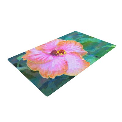 Sylvia Cook Hibiscus Green/Pink Area Rug Rug Size: 4 x 6