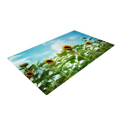 Sylvia Cook Sunflower Field Blue/Green Area Rug Rug Size: 4 x 6