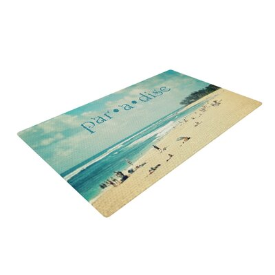 Sylvia Cook Paradise Tan/Blue Area Rug Rug Size: 4 x 6