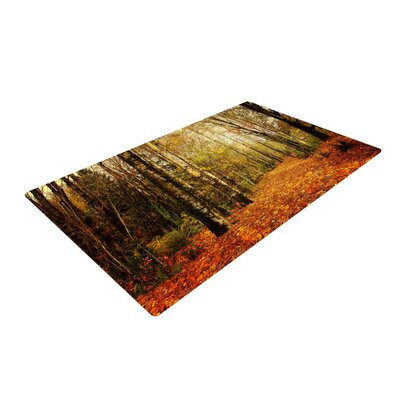 Sylvia Cook Autumn Leaves Rustic Orange/Green Area Rug Rug Size: 4 x 6