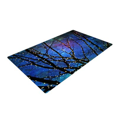 Sylvia Cook Holiday Lights Christmas Blue/Black Area Rug Rug Size: 2 x 3