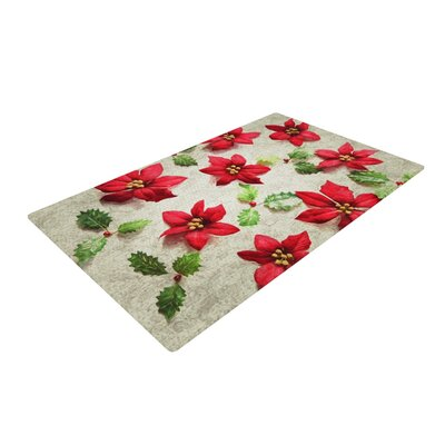 Sylvia Cook Poinsettia Holiday Leaves Red/Ivory Area Rug Rug Size: 2 x 3