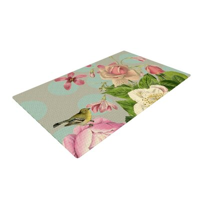 Suzanne Carter Vintage Garden Cush Flowers Green/Pink Area Rug Rug Size: 2 x 3