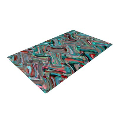 Suzanne Carter Abstract Wave Teal Area Rug Rug Size: 2 x 3