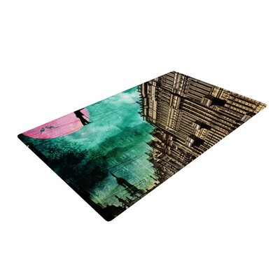 Suzanne Carter Moonlight Stroll Surreal Green/Brown Area Rug Rug Size: 4 x 6
