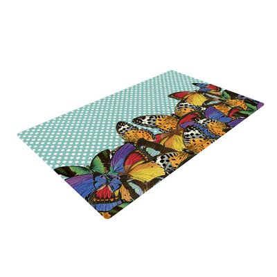 Suzanne Carter Butterfly Polka Teal/Multicolor Area Rug