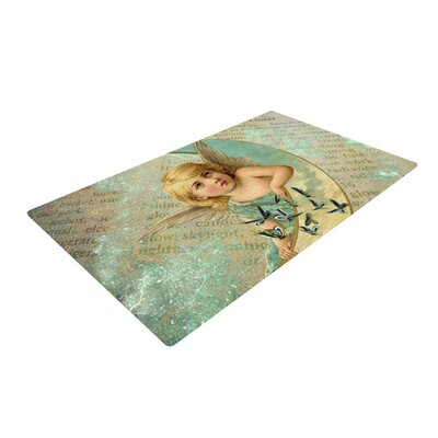 Suzanne Carter Angel Teal/Yellow Area Rug Rug Size: 2 x 3