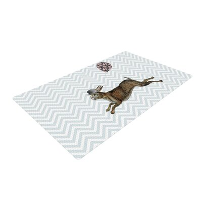 Suzanne Carter Hare Today Rabbit White/Gray Area Rug Rug Size: 2 x 3