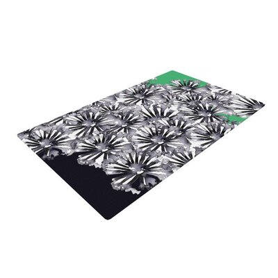 Sonal Nathwani Flowers on Green Black/White Area Rug