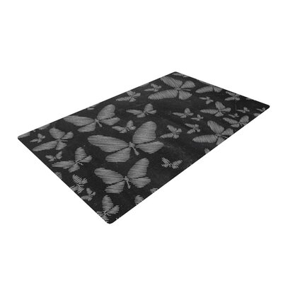 Snap Studio Butterflies III Chalk White Area Rug Rug Size: 2 x 3